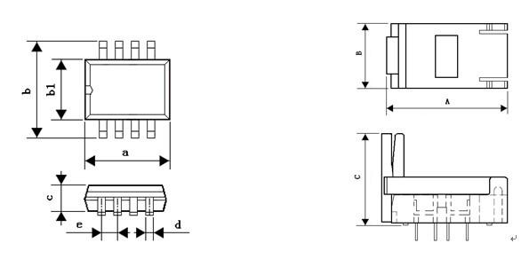产 品 型 号 ic 封装 a b b1 c d e a b c 080-3005-081 sop8 4.